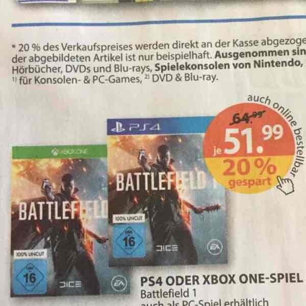 Battlefield 1 51,99€ / 20% auf alle Games bei Müller