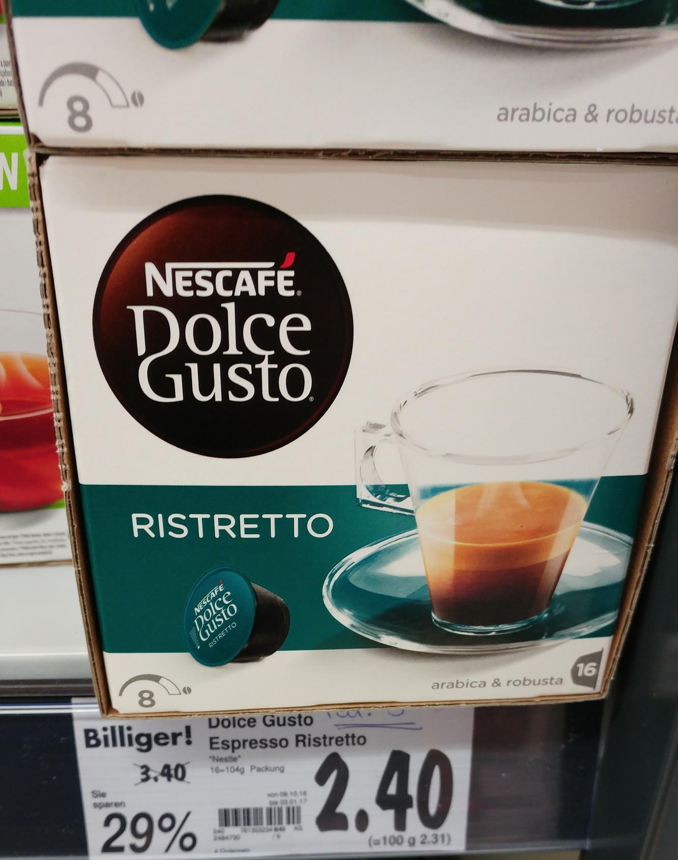 PREISFEHLER? :D [Kaufland Lokal - Hx] Dolce Gusto Ristretto Espresso für 2,40 Euro