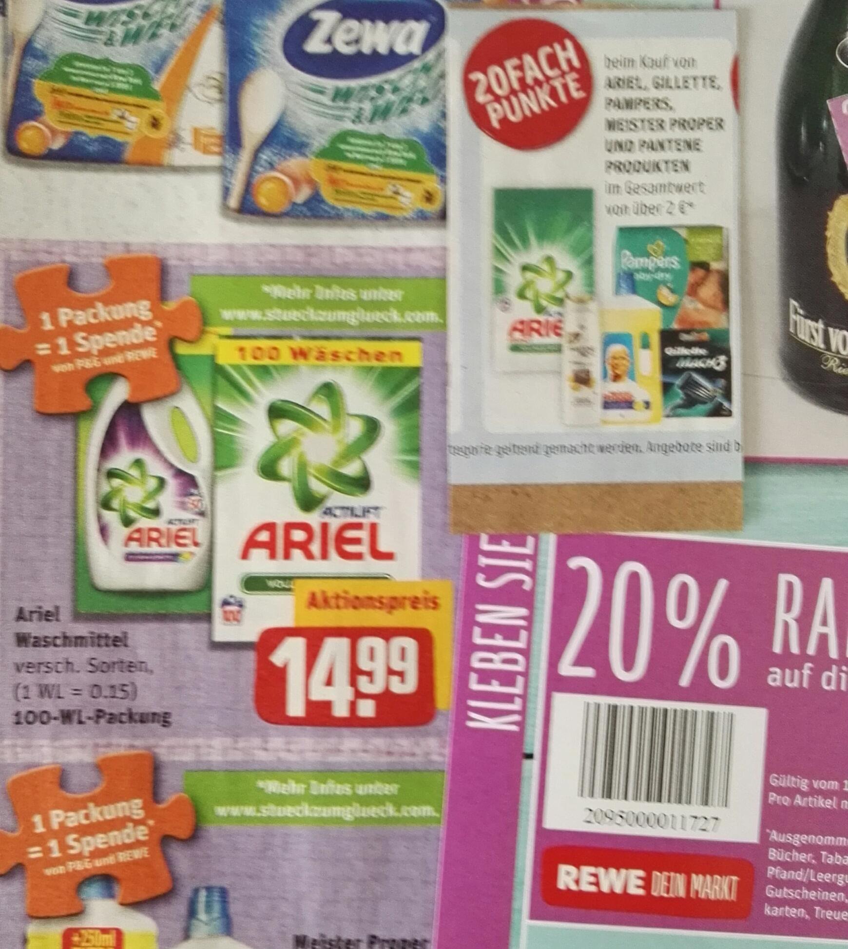 (Rewe mit Payback offline) Ariel 100WL für 10,80€ (11Cent pro WL)