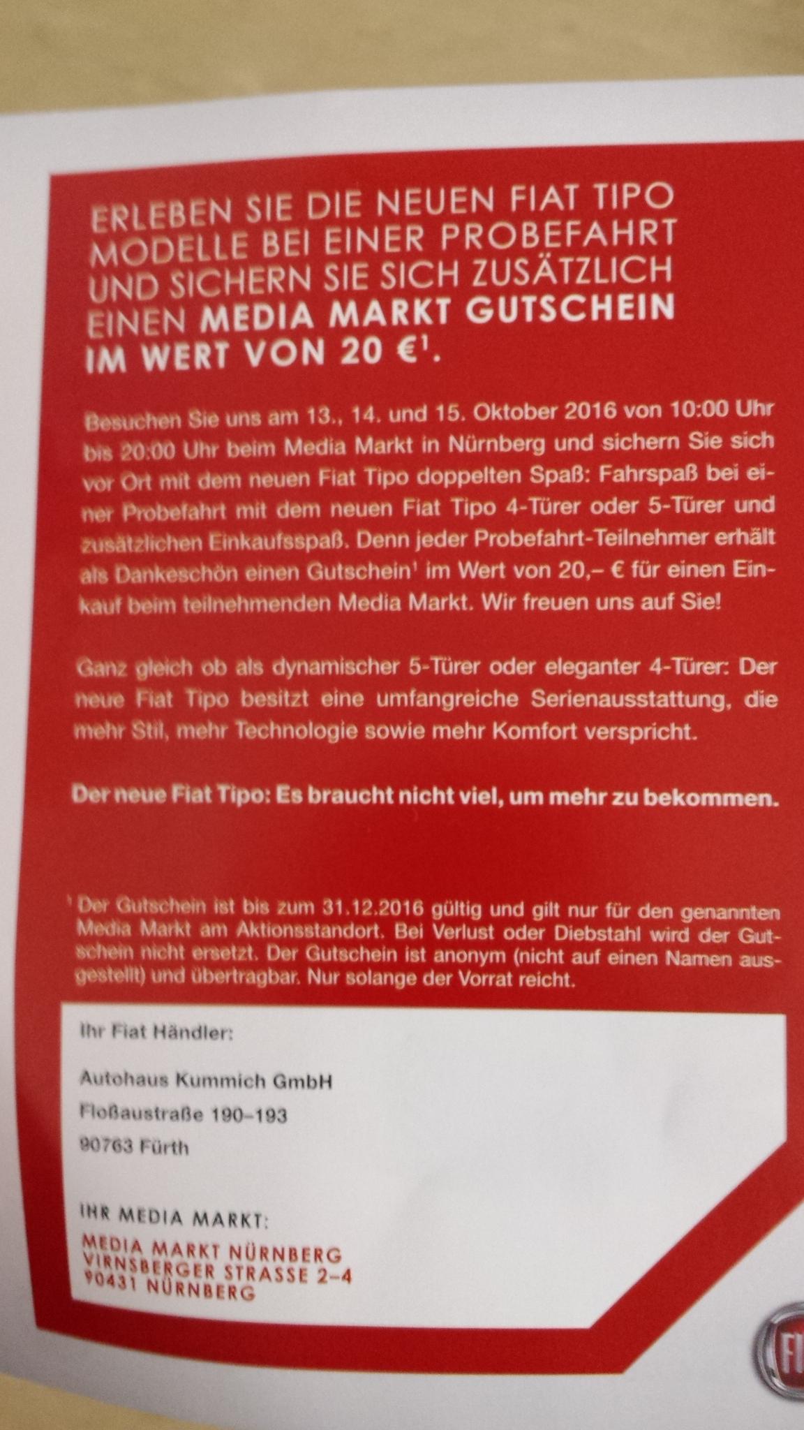 Nürnberg 20 Euro Media Markt Gutschein für kostenlose probefahrt