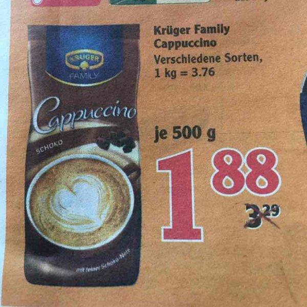 Krüger Cappuccino (verschiedene Sorten) 500g - Globus Schwandorf (wahrs bundesweit)