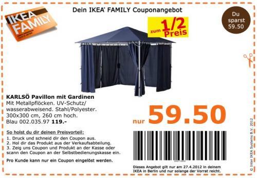 Ikea KARLSÖ Pavillon mit Gardinen für 59,50€ Nur am 27.04 (Berlin)