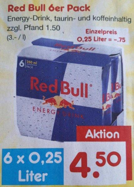 (Netto) Red Bull 6er Pack, pro Dose 0.75€ + Pfand zusätzlich 20% Gutschein möglich