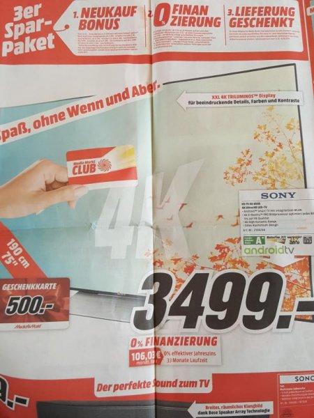 Sony KD75XD8505 incl. 500€ Geschenkkarte 4K Ultra HD für 3499€ @ Media Markt Stuttgart