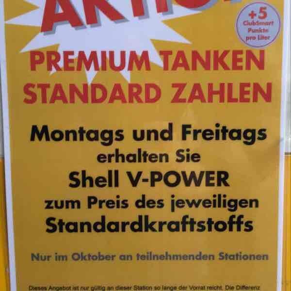 Shell V-Power zum Preis von Standardkraftstoff MO UND FR