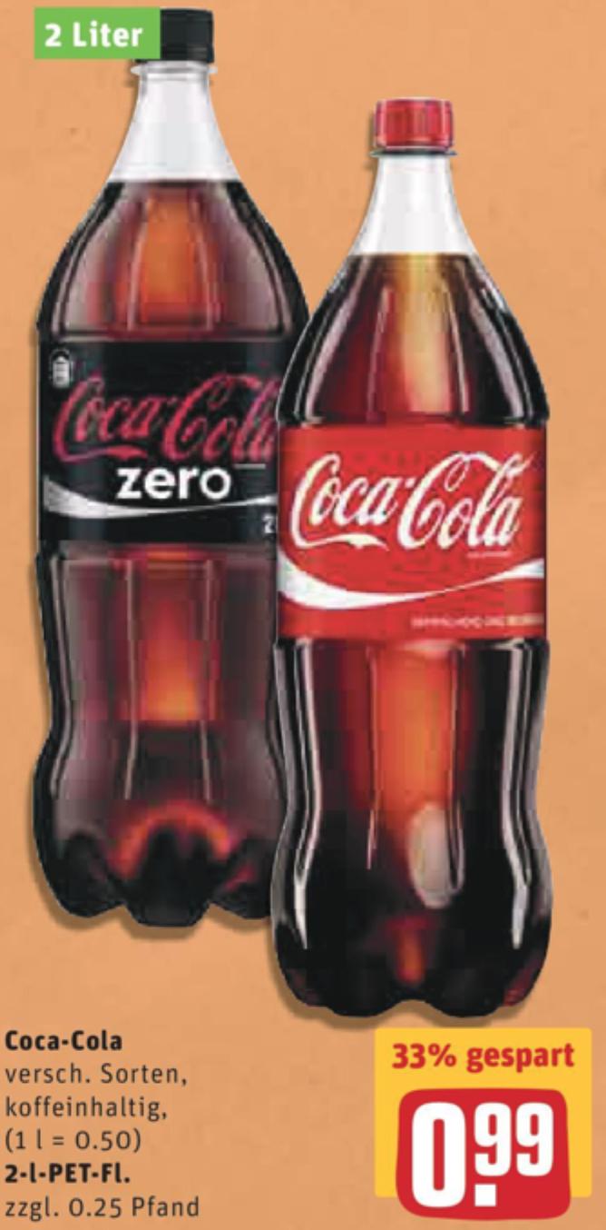 [Rewe/evtl. bundesweit?] Coca-Cola verschiedene Sorten 2l für 0,99€ ab 17.10.2016