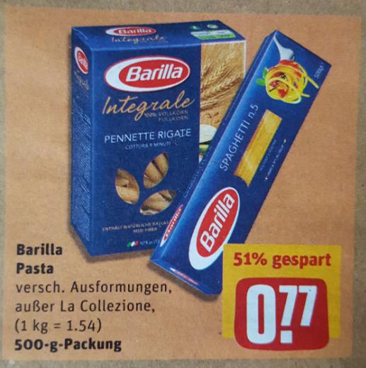 """REWE ab Montag: Barilla (500gr.) - auch Integrale für 0,77€. Kombinierbar mit Aktion """"Montag ist Pasta-Tag""""."""
