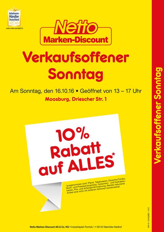 [lokal Moosburg a.d. Isar] Verkaufsoffener Sonntag + 10% Rabatt auf fast alles @ Netto