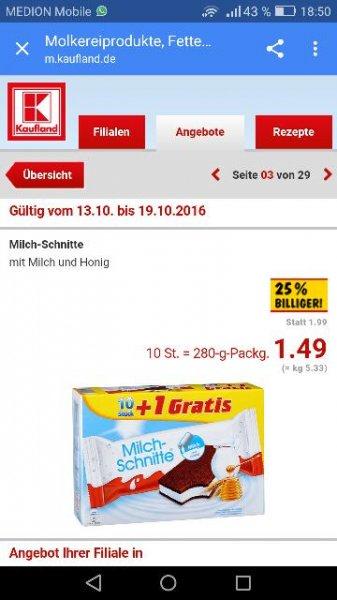 [Kaufland] Milchschnitte Standard 10er Pack für 1,49 €