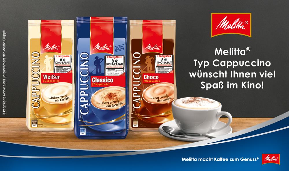[Sky & Famila Nordost Märkte] 800g Cappuccino Pulver von Melitta + ein 8€ Kino Rabattgutschein für 3,98€ (+70Ct Porto)