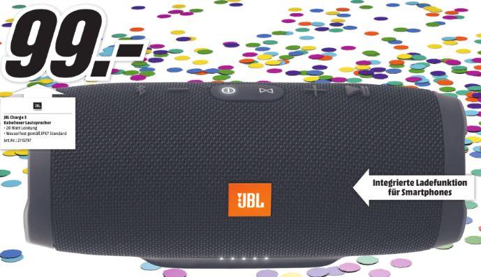 [Lokal Mediamarkt Marburg] JBL Charge 3 Stereo 20W Tube - Tragbare Lautsprecher (Stereo, Kabellos, Batterie/?Akku, 65 - 20000 Hz, Bluetooth, Tablet / Smartphone) für 99,-€