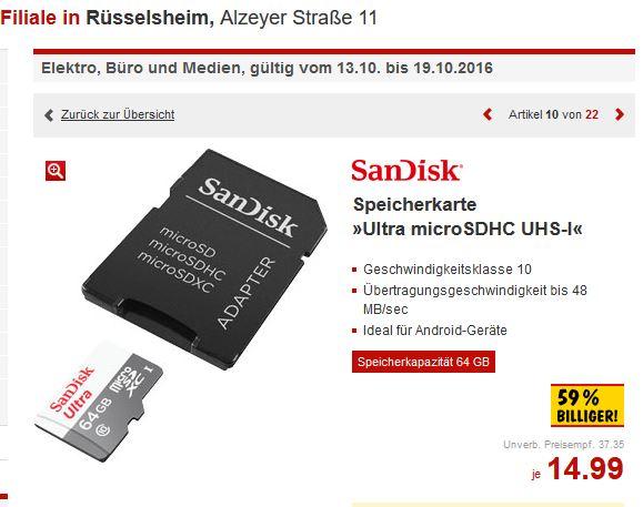 [Kaufland] offline: SanDisk microSDXC UHS-I 64GB für 14,99 EUR