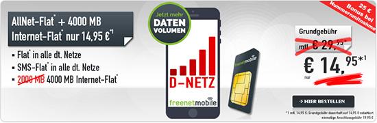 Allnetflat mit 4GB Internetflat im Vodafone Netz