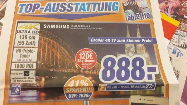 Samsung 4K TV UE55 JU6480 1000 PQI 888€ +*120€ mit Sky sparen* bei EXPERT KLEIN