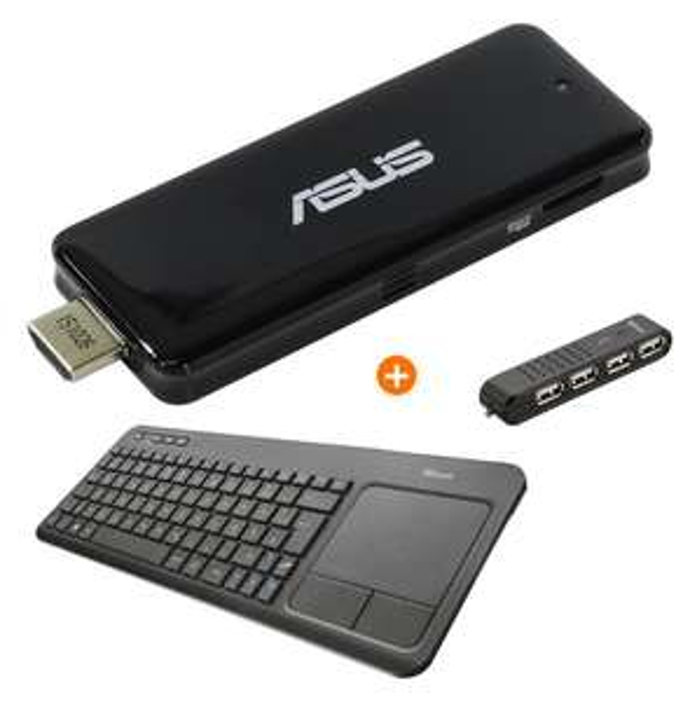 ASUS PC-Stick Bundle - Intel Atom x5-Z8300, 2GB RAM, 32GB eMMC, Win10 + Trust Wireless-Tastatur + Trust USB Hub [notebooksbilliger.de]