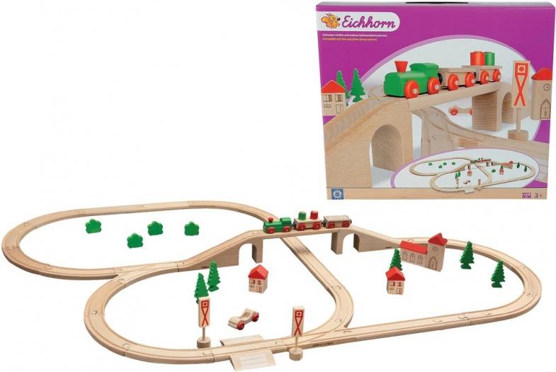 Eichhorn 100001204 Bahnset mit Brücke, 55teilig ab 26,99 Euro