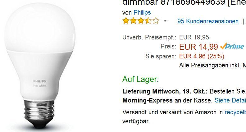 [Amazon PRIME] Philips Hue Einzellampe E27 White Dimmbar 9,5 Watt 14,99€ / Idealo ~19€