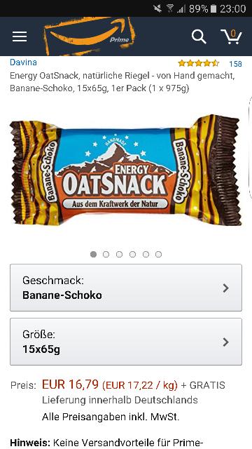 15x oatsnack Schoko Banane Riegel PREISFEHLER?