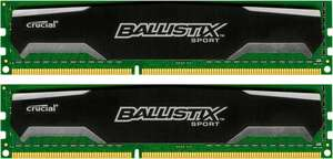 Crucial Ballistix Sport 16GB (2x 8GB) (DDR3-1600, CL9-9-9-24) für 60,17€ [Amazon.it]