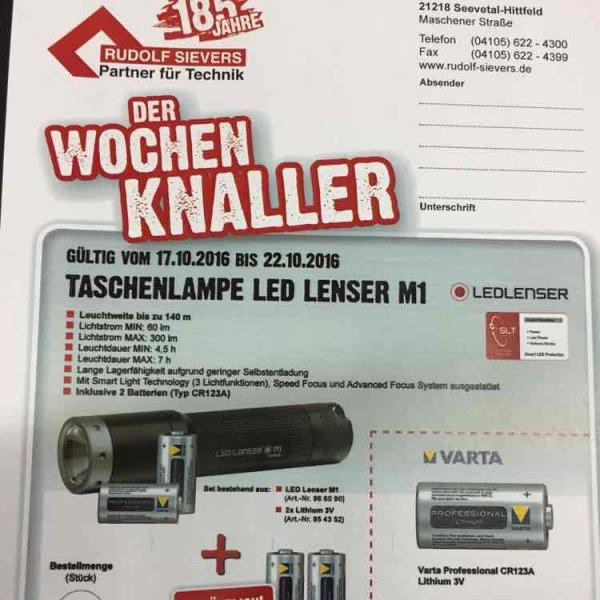 LED Lenser Taschenlampe M1 inkl. 2x Batterien