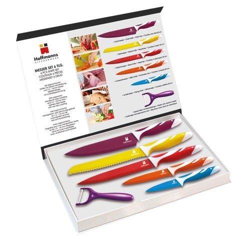 Messer-Set 6-teilig - 5 Messer mit Antihaftbeschichtung + 1 Keramik Sparschäler  beim [AMAZON]