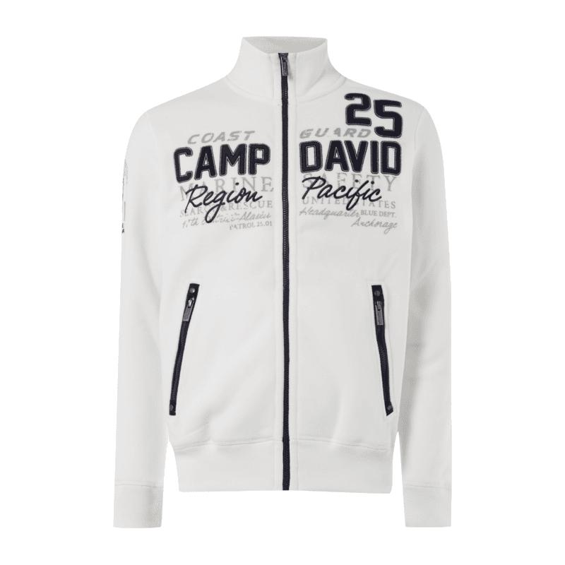 [Ebay Wow] Camp David Fleecejacke in weiß von L bis XXL mit Aufnähern, Prints und Stickereien
