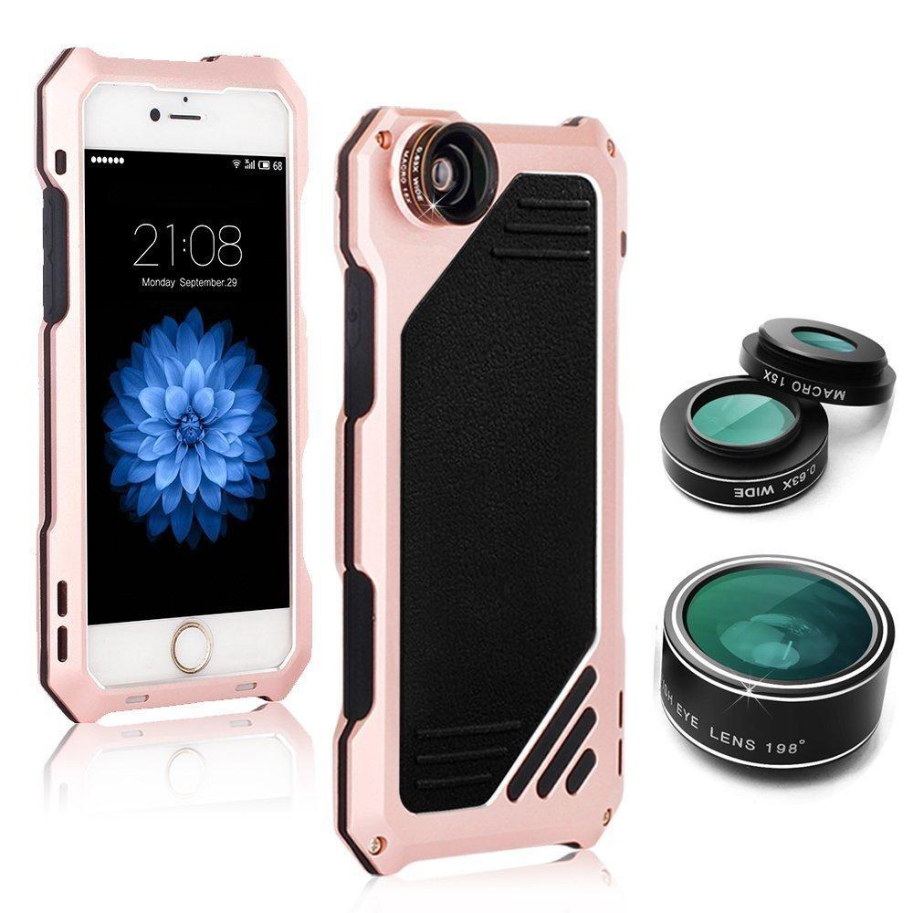 Multifunktions Handyhülle mit eingebauter Schutzfolie für IPhone 6/6S + 3in1 Kamera Objektiv ab 15€