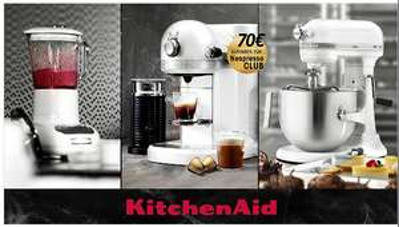 KitchenAid Nespresso für 299€+ 70€ Nespresso Guthaben; KitchenAid Blender für 119€ und KitchenAid Heavy Duty 1.3 HP für 549€
