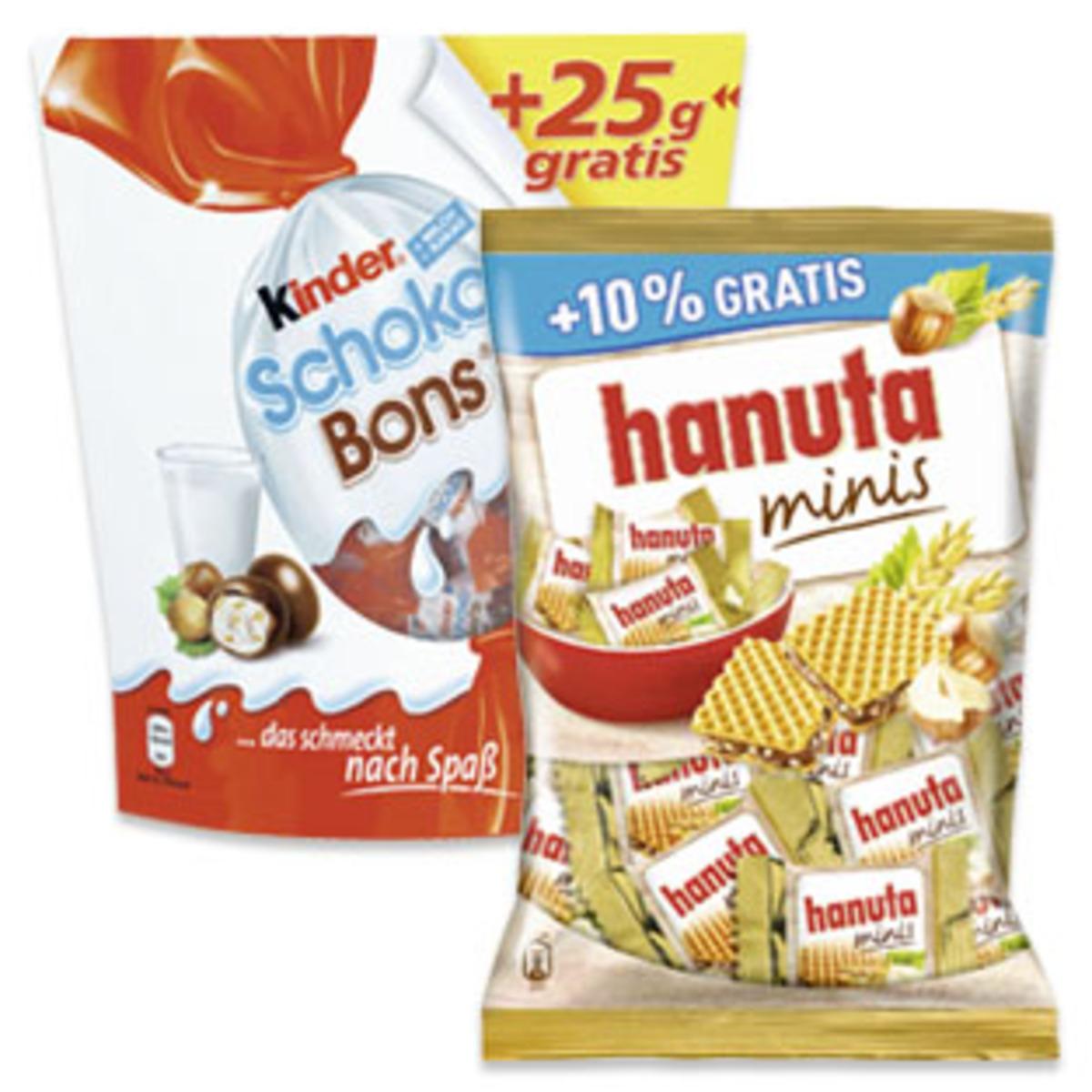 Kinder Schoko-Bons (+25g) 225g für 1,39€ / Hanuta  Minis (+10%) 220g für 1,49€ / Duplo oder Kinder Riegel 11er 220g 1,39€ [HIT]