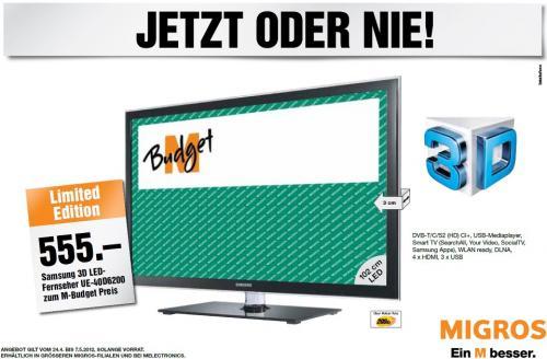 """[Schweiz] SAMSUNG LED-Fernseher 3D UE40D6200 101cm 40"""" Full HD"""
