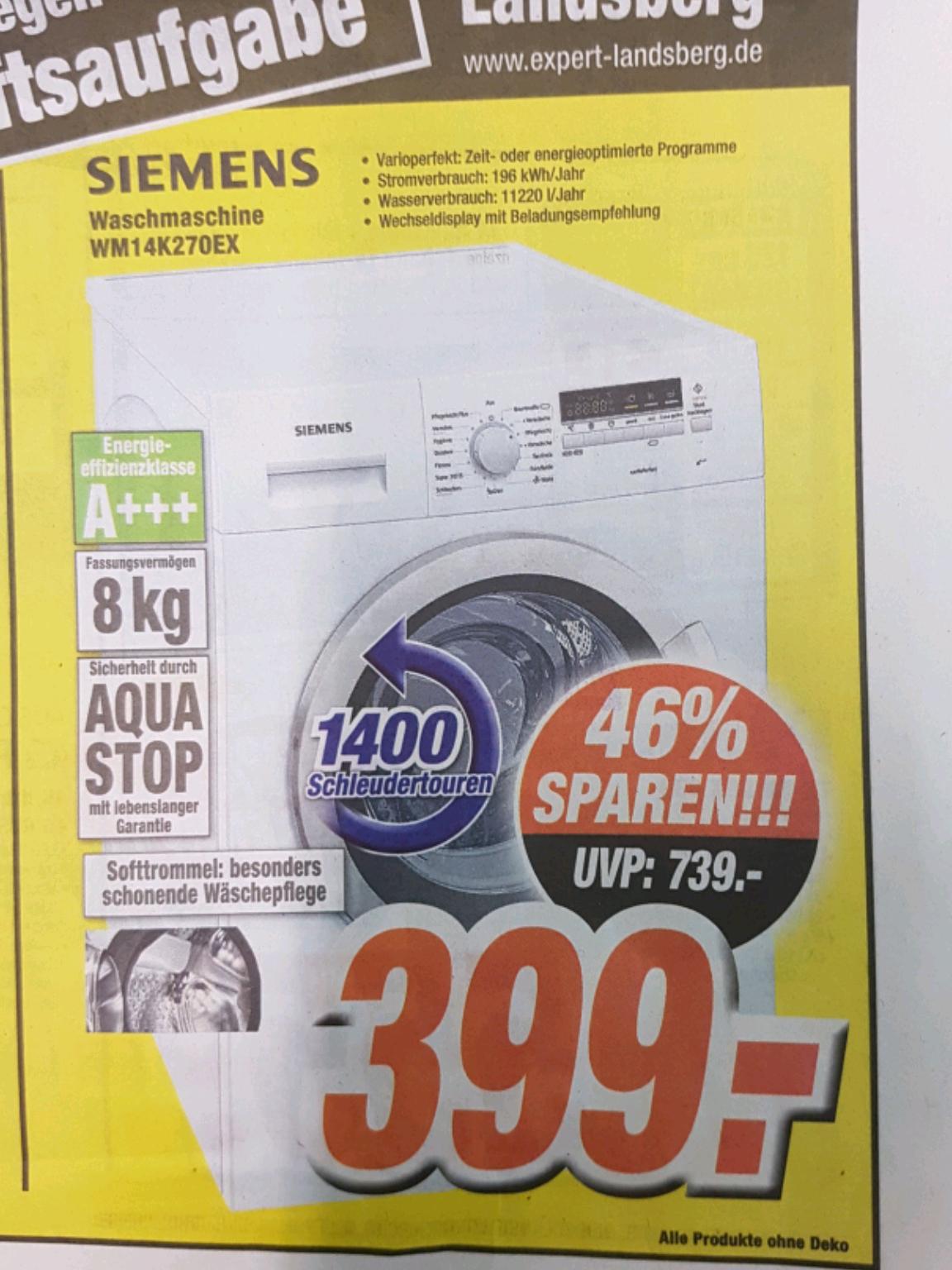 expert Landsberg Siemens Waschmaschine WM14K270EX