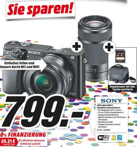 [MM Mainz, Alzey, Bischofsheim] Sony Alpha 6000 Doppel-Kit Set + SD Karte und Tasche für 799 €