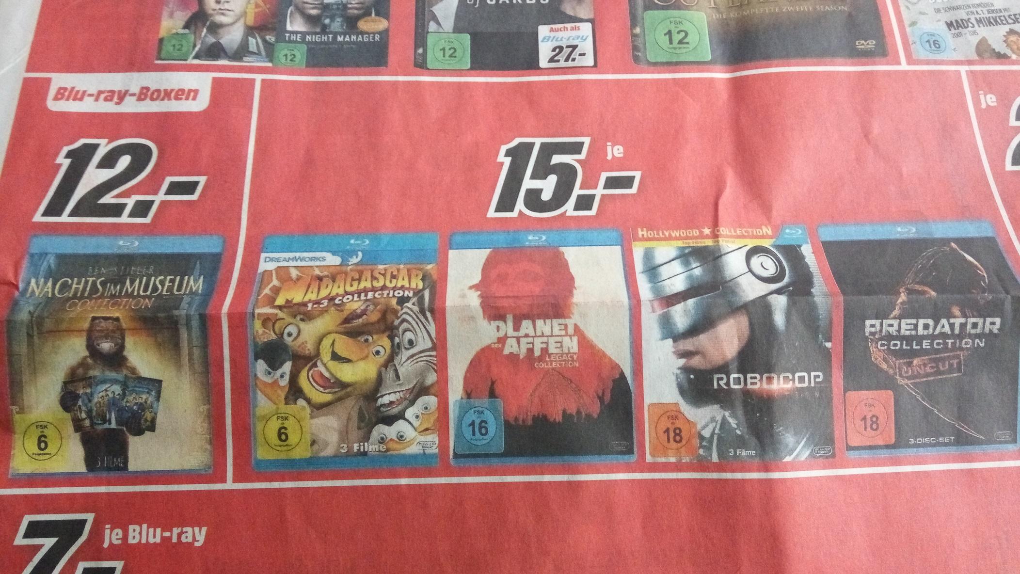 Lokal Media Markt Berlin Blu-ray Boxen Predator, Madagascar, Robocop, Planet der Affen je 15 €