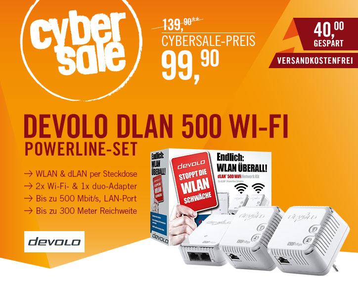 devolo dLAN 500 WiFi Network Kit für 99,90€ bei Cyberport - PowerLAN und WIFI Adapter für Internet überall @Home *UPDATE* Einzeladapter für 44,44€
