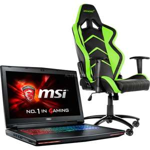 "[ZackZack] MSI Notebook i7-6820HK ""GT72S-6QEG16SR45BW Dominator Pro G"" mit Player Gaming Chair AK-K6014-BG für 2003,95 Euro."