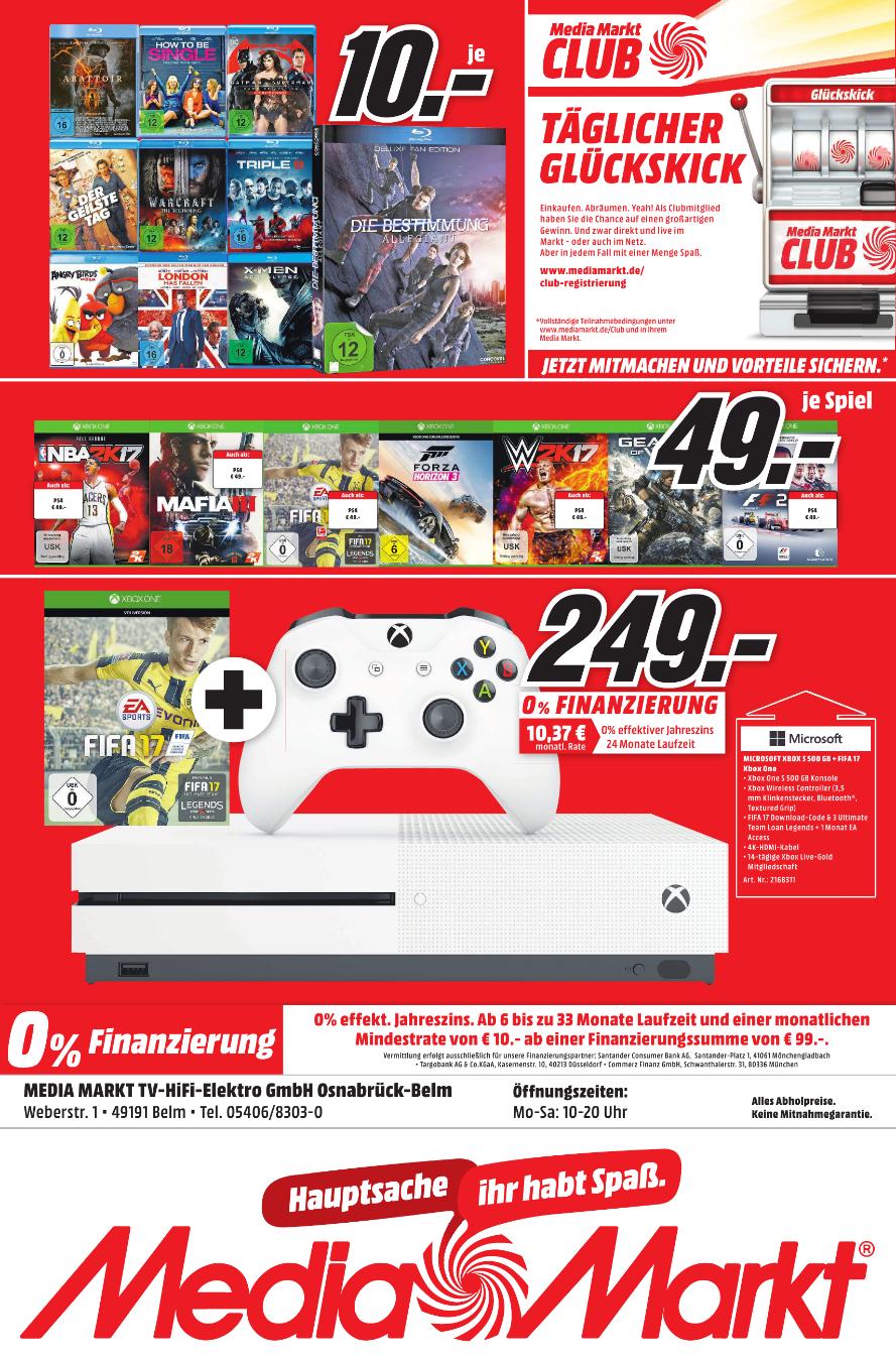 XBOX One S 500 GB + FIFA 17 (DLC) für 249,- EUR (Media Markt Osnabrück-Belm)