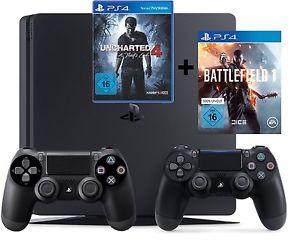 [Saturn ebay] PS4 Konsole Slim 1TB black CUH-2016B + Battlefield 1 +Uncharted 4 + 2 Controller