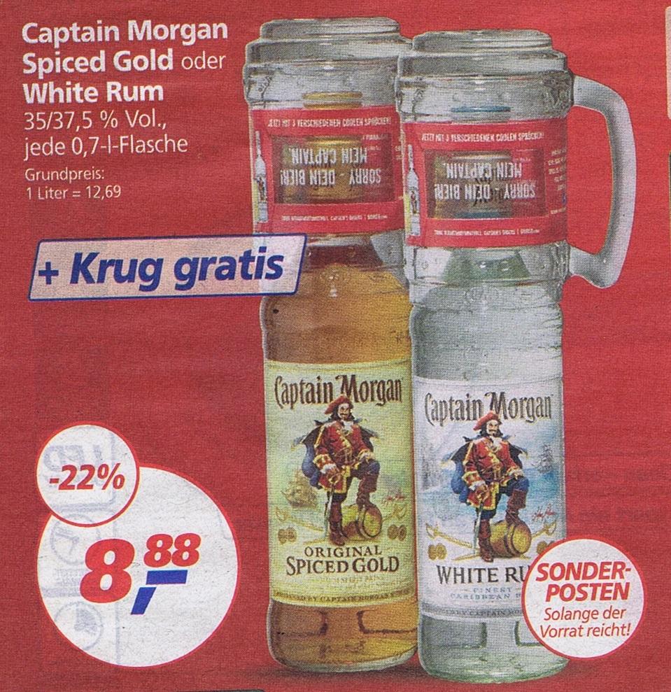 Captain Morgan Spiced Rum oder White Rum mit Krug nur 8.88€ ab Montag im Real
