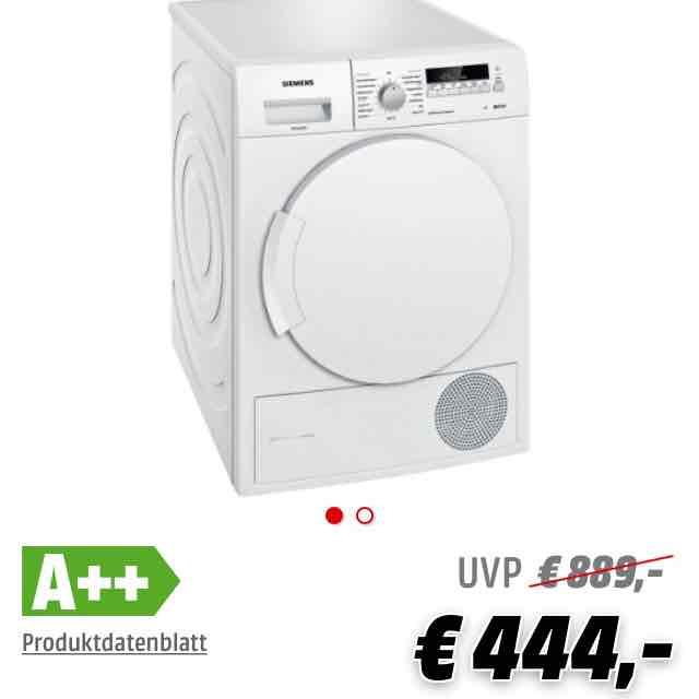 Siemens Kondensationstrockner mit Wärmepumpentechnologie WT 43 W 2B1  (7kg A++) für 483,90€ inkl. Versand [Media Markt]
