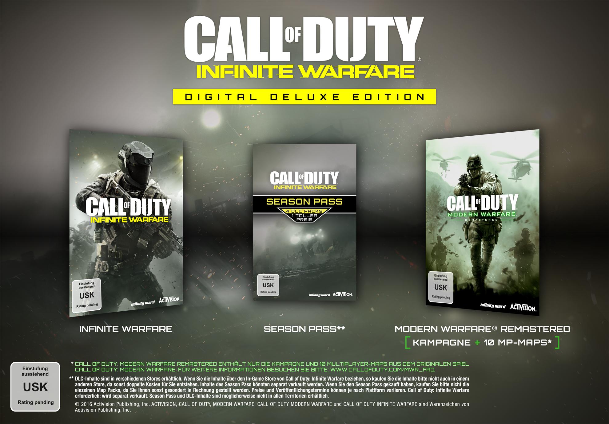 [Amazon.de/Steam Code] Call Of Duty Infinite Warfare Digital Deluxe Edition inkl. Modern Warfare Remastered (nur 57,99 Euro mit Prime)