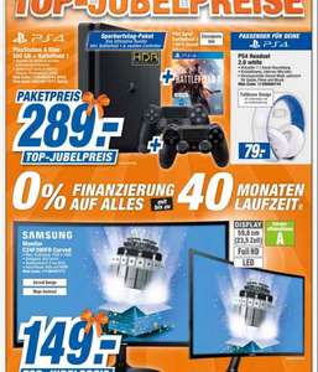 PlayStation 4 Slim 500GB, 2 Controller, Battlefield 1 / bei Expert Ost-Dtl.