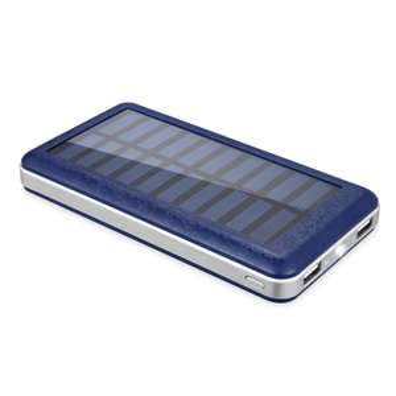 Powerbank mit Solarpanel und 20.000 mAh für 19,99€ in Blau