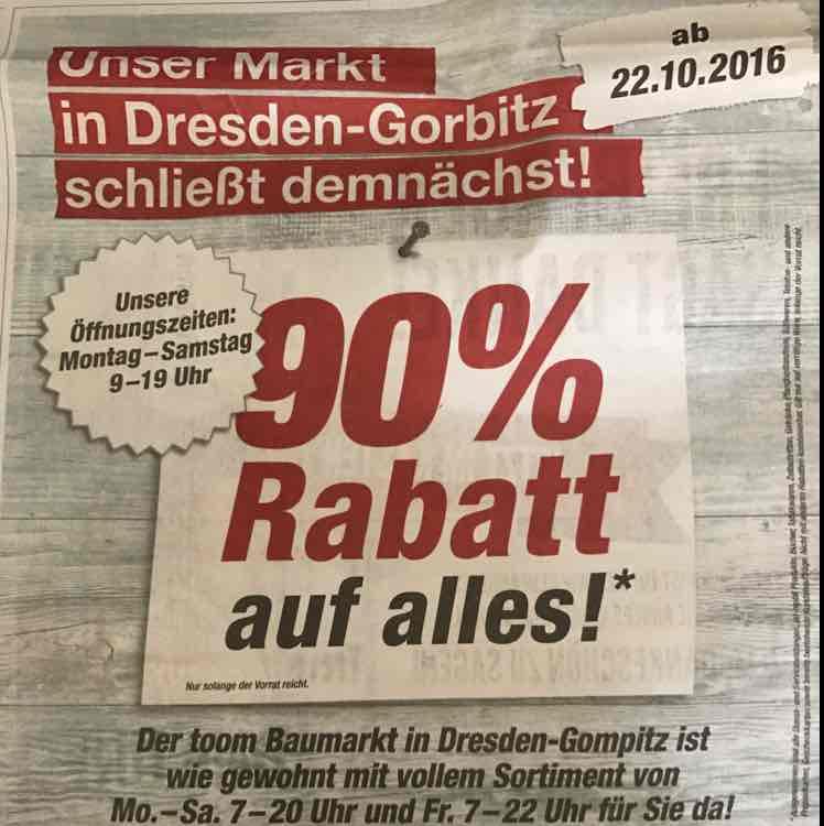 [Lokal Dresden] Toom Baumarkt 90% Dresden-Gorbitz