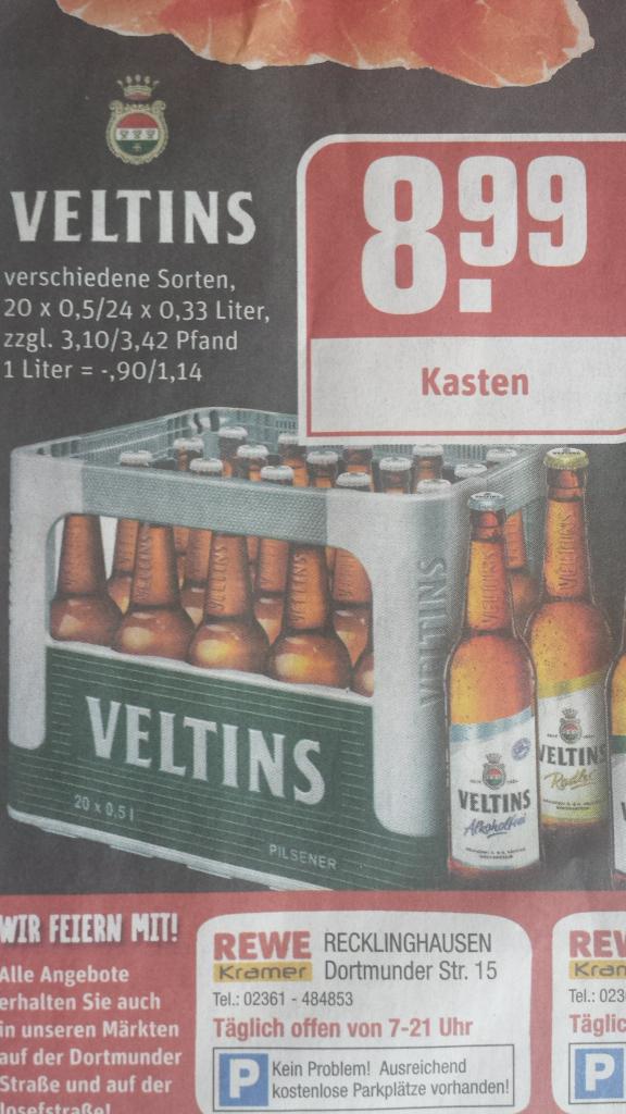 Veltins bei rewe kramer lokal Recklinghausen und Herten