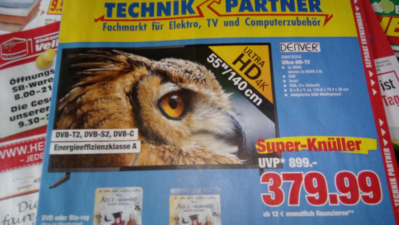 "Denver 55"" UHD TV (5569T2CSSI): 3840x2160p, CL+, 3xHDMI, Scart, VGA, USB, DVB-S2, DVB-T2 (H.265, HEVC),DVB-C Tuner, 8MS Reaktionszeit für 379,99€ @Technik Partner Vellmar (bei Kassel)"