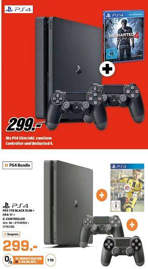 [Saturn] Playstation 4 Slim mit 1TB + Fifa 17 + 2. Controller für 299,-€ *UPDATE* mit Uncharted 4 anstatt Fifa17 beim Mediamarkt für 299,-€**Update..Bei Saturn jetzt inc. Camouflage Controller