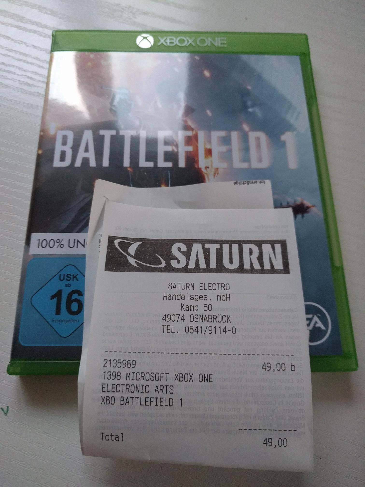 [Lokal] Osnabrück Battlefield 1 PS4,Xbox One (49€) und PC (39€) im Saturn