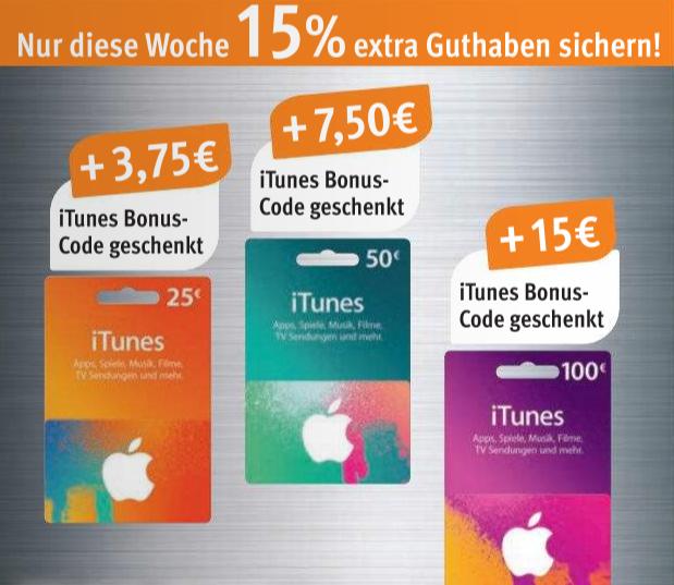 [Rossmann] 15% extra Guthaben bei iTunes