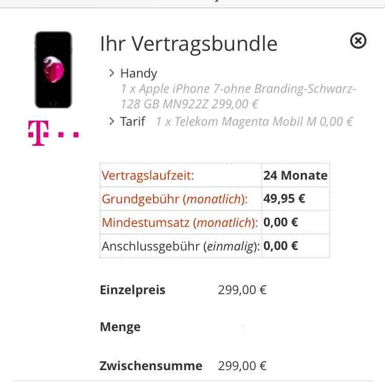 iPhone 7 128 GB mit Telekom Magenta Mobil M - für effektiv 55€ monatlich (nur mit MagentaEINS Kombi interessant) - inkl. 15.000 M&M Meilen