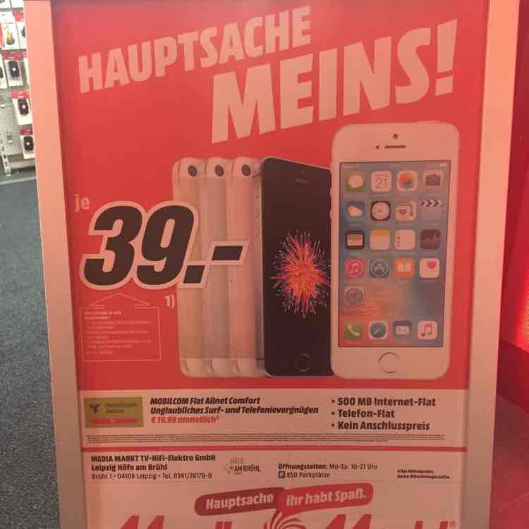 [Lokal] Media Markt Leipzig - Höfe am Brühl - Apple iPhone SE 16GB für 19,99€ mtl.